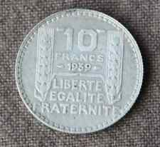 Monnaie France pièce 10 francs ARGENT Turin 1939 Silver coin 1 RARE Rameaux long