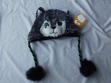 Greendog Kids Grey Furry Raccoon-Head Winter Lined Hat Small or M/L  NWT B5180