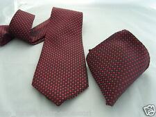 "13) silk-red/burgundy-tiny Diamantes shape-necktie & Hanky set-ties-3.5 "" = 9 Cm Ancho"