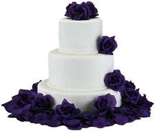 Purple Silk Rose Cake Flowers - Wedding Decoration