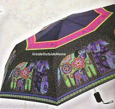 Laurel Burch COMPACT Umbrella Dancing Dogs Doggies Auto Open Close Lg Canopy NEW