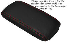 RED STITCH LEATHER ARMREST ELASTICATED SKIN COVER FITS AUDI A3 8P S3 03-12