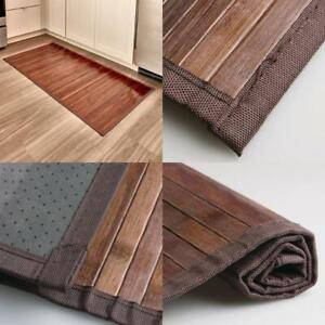 "Bamboo Floor Mat Bathroom Rug Wood Natural Mocha Non Skid Home Decor 24"" X 48"""