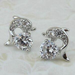 Pretty Dolphin C.Z Silver Stud Earrings