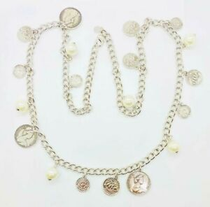 """HSN Joan Boyce 38"""" Simulated Pearl and Coin Dangle Necklace"""