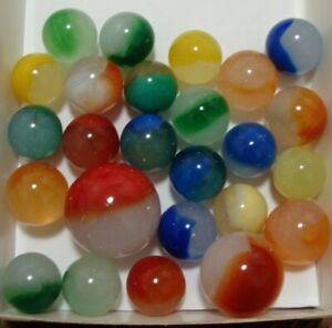 25 Vintage Marbles Akro Agate Moss Agates With Shooter Red Blue Green Yellow