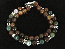 Vintage 90/'s sterling silver labradorite gemstone beaded bracelet 7.5 925 18562