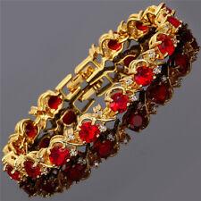Rhinestone Round Cut Red Ruby Tennis 18K Gold Plated Fashion Bracelet