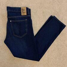 NEW H&M Men 34/31 Dark Blue Denim Slim Regular Waist Tapered Leg Jean Button Fly