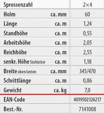 Hymer Holz-sprossenstehleiter beidseitig begehbar 2x4 7141008