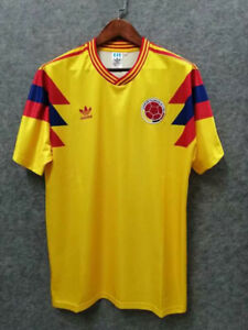 Colombia 1990 Home Yellow Soccer Retro Jersey Football Shirt