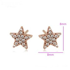 "9k 9ct Rose ""GOLD FILLED"" Women Girls White Stones Star stud Earrings 8mm Gift"