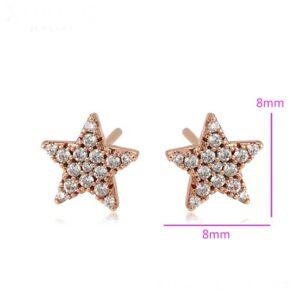 """9k 9ct Rose """"GOLD FILLED"""" Women Girls White Stones Star stud Earrings 8mm Gift"""