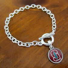 new! STANFORD UNIVERSITY SILVER TOGGLE CHARM BRACELET fan mom alumna jewelry