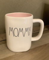 Rae Dunn - MOMMY - LL Pink Interior Ceramic Coffee Mug