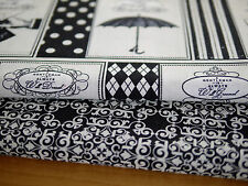 Fabric bundle Patchwork fabric 2 x 30x110 cm DAVID, black-cream, Gentleman