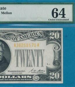 $20. 1928 GOLD SEAL GOLD CERTIFICATE  PMG  CHOICE NEW 64