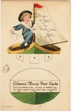 Un-Cut Cut Out Post Card, Ship Ahoy To Wish You Joy, Gibson's Movie Post Cards