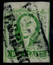 ad07 Mexico #3b 2R Plt 2 Green, Short Transfer in Banner Puebla Sz 1147 30pts VF
