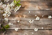 7x5Ft Brown Vintage Wooden Board Flowers Props Photography Background Vinyl