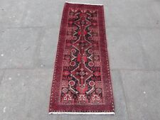 Old Traditional Hand Made Persian Oriental Wool Red Short Runner 144x58cm