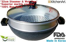 Kitchen Art Marble Stone Non Stick Coated 32 Cm Steamer & Wok Pan