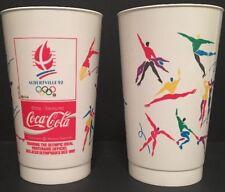 2 Vintage 1992 Albertville Winter Olympics Coca-Cola Promotional Cups RARE