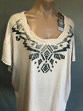 BNWT Ladies Sz 16 Rivers Latte Aztec Cap Sleeve Round Neck Stretch Tunic Top