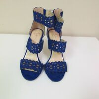 JESSICA SIMPSON Blue Suede Back Zip Solid Ankle Strap High Heels Sz 7 B5030
