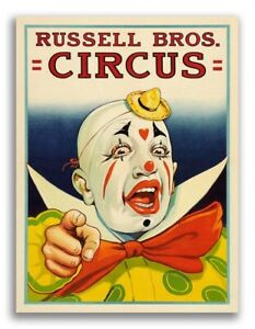Russell Bros Circus Creepy Clown Pointing 1940s Vintage Style Poster - 24x32