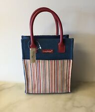 Longaberger Small Tote Bag Purse Homestead Canvas Denim Stripe Fabric New Nos