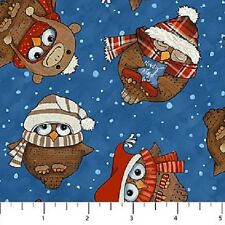 Owls on Blue Cutie Hooties Winter Flannel Northcott Fabrics by the 1/2 yard