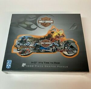 """Harley Davidson """"It's Time To Ride"""" Motorcycle Shaped 1000 Piece Puzzle Sealed"""