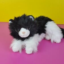 """Ty Classic Plush Kittles Black White Cat 2007 Fluffy Tuxedo Kitten Long Hair 12"""""""