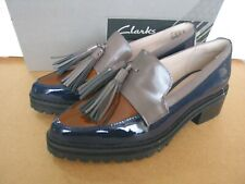 NEW CLARKS ANNISTON VALE MULTI PATENT LEATHER SHOES BROGUES 4/37