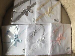 Spanish baby bib & cloth wrap set lace ribbon unisex romany