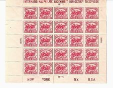 US STAMPS #630 INTERNATIONAL PHILATELIC ISSUE 1926 MINT SHEET M/NH SCV $600.00