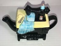 Vintage Collectible Pottery Black Sewing Machine Teapot  See Pics! Make Offer!