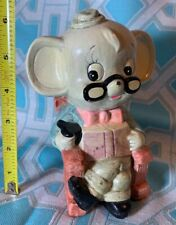 Vintage 1970s Grandpa Mouse In Rocking Chair Figural Plaster Coin Bank 70s