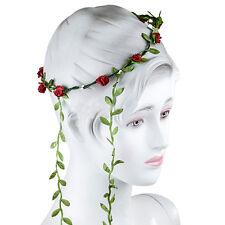 Bohemian Flower Crown Wedding Garland Forehead Hair Head Band Wreath SA Red