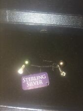 NEW 925 Sterling Silver CZ Black Freshwater Pearl 5-6mm Button Post Earrings