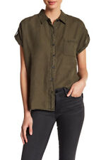 NWT THREE DOTS Sweet Fern Green JOANA Short Sleeve Button Down Linen Shirt ~ L