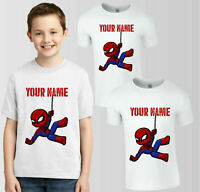 Personalised Spider-Man Marvel T-Shirt, Your Name Boys Girls Birthday Kids Top