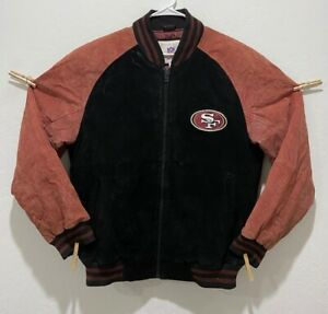 """Men's NFL SF 49ers Leather Suede Coat Size L & New 5X Champion Hat Size 7 1/8"""""""