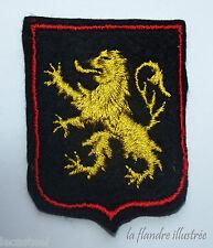 ancien écusson lion des flandres - doré sur fond noir - collection - carnaval