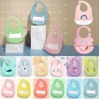 Baby Bibs Waterproof Silicone Feeding Saliva Towel Cartoon Aprons Toddle Adjusta