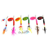 Lot 6 Bass Fishing Baits Trout Spinners Rooster Tail Treble Hooks Spring Fishing