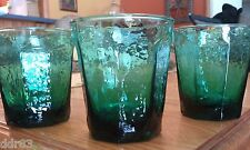 """3 - EMERALD GREEN - 13 oz -DOUBLE OLD FASHIONED ROCKS GLASSES - 4 1/4"""" TALL"""