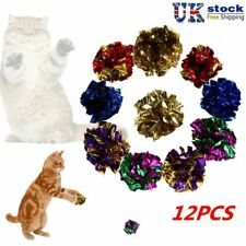 12pcs Colorful Pet Cat Crinkle Foil Balls Cat Kitten Sound Paper Toy Mylar Balls