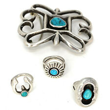 Dan Jackson Native American Sterling Silver and Turquoise Belt Buckle and Rings